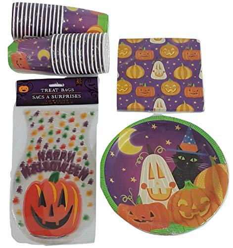 Halloween Black Cat & Pumpkin Party Supply Tableware Set for 18; 18 Paper Plates, 18 Napkins, 24 Cups & 24 Clear Party Treat Bags ()