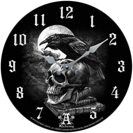 Pacific Giftware Poe s Raven Decor Wall Clock Round Plate Diameter 13.5