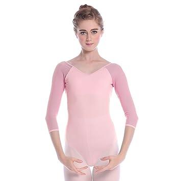 Bezioner Danse Justaucorps Vêtements Gymnastique Léotards 3 4 Manches pour  Filles Femme (Rose 0d9f4bc400c