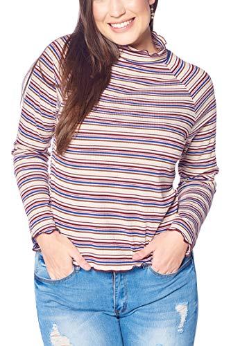 (Women's Junior Plus Size Turtle Neck Striped Top with Lettuce Edge Off White 1X)