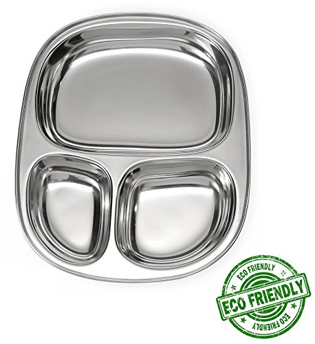 Lifestyle Block Stainless Steel Plastic-Free 3 Compartment Kid's Plate - Small Divided Kid Plate - Compare to EcoLunchbox