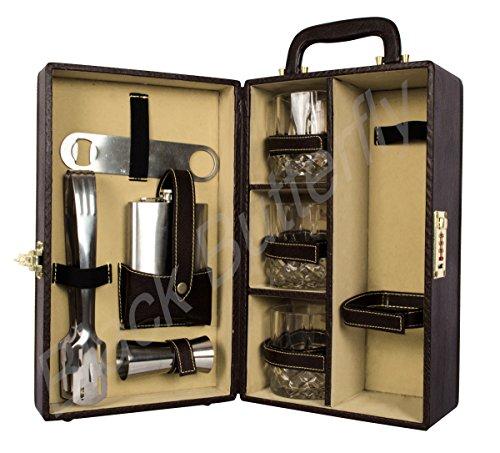 Black Butterfly Bar accessories   Mega Bar Set   Portable Leatherette Briefcase Bar Set ,Black Price & Reviews