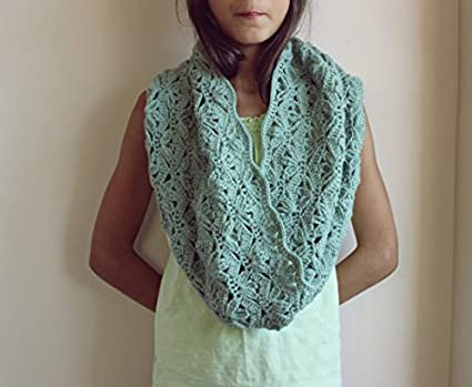 Amazon Sage Green Lace Cowl Scarf Crochet Snood Scarf Loop