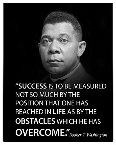 Success is to be Measured Famous Quote Poster Portrait by Booker T Washington Motivational Decoration for School classrooms Libraries Study Halls Educators (16x20)