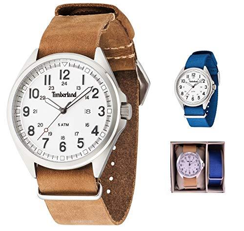 Timberland Reloj Analógico para Hombre de Cuarzo con Correa en Cuero TBL-GS-14829JS-01-AS: Amazon.es: Relojes