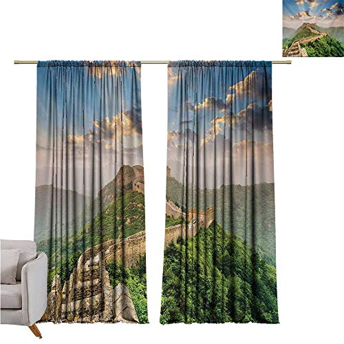 RenteriaDecor Great Wall of China,Window coverings Oriental Medieval Blockade on High Lands Old Wonders The Past Picture W72 x L108 Rod - Blockade Curtain Rod