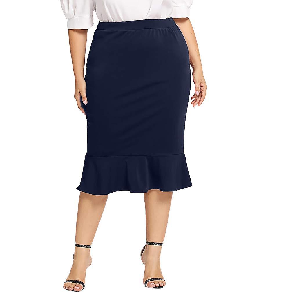 TWGONE Ruffle Skirt For Women Elastic Waist Plus Size Solid Mermaid Hem Maxi Skirt (XXXXX-Large,Navy)
