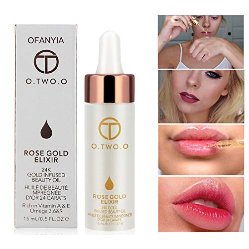 Ofanyia 24k Rose Gold Elixir Skin Makeup Oil Beauty Oil Essential Oil Before Foundation Primer Moisturizing Face Oil (Plumping Lip Stain)