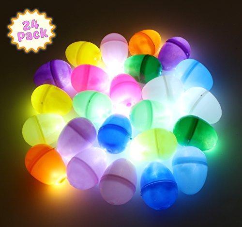 Easter Light Up Glow in The Dark Egg Hunt Reusable Easter Decor Lights -