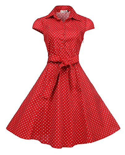 Bi.tencon Women's Cap Sleeve 1950s Retro Red Polka Dot Cocktail Summer Swing Vintage Dress - Retro Dot Polka