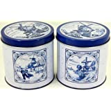1 Tin Stroopwafel Delft blue Can FOR Dutch Bakery Stroopwafels /4 Windmill sailboat pictures with dutch landscape