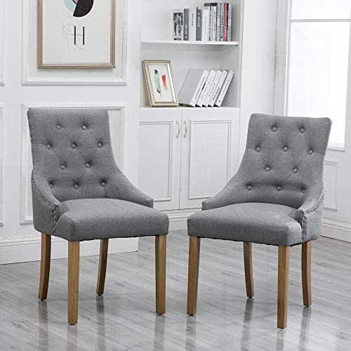 HomeSailing Grey Dining Chair with Arms Set of 2 Hostess Armchairs Comfy Fabric Upholstered with Button for Kitchen Restaurant Living Room Soft High Back Side Chairs (Gray)