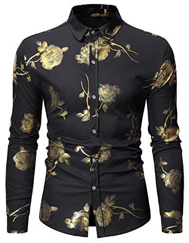 - HOP Fashion Mens Rose Print Shirt Luxury Gold Design Long Sleeve Slim Fit Button Down Shirts HOPM334-Black-L