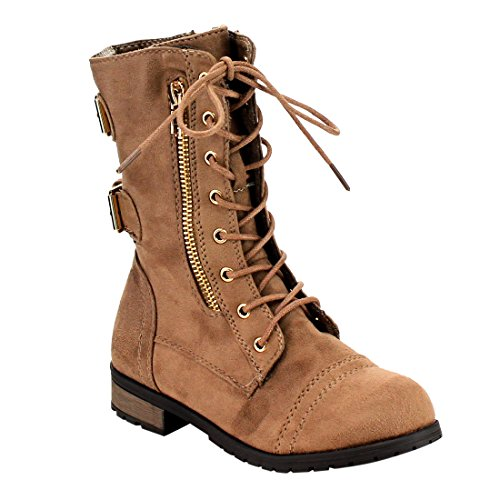 Forever Mango 73K Little Kids Combat Lace Up Boots Taupe 1