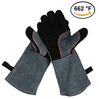 OZERO Leather BBQ Gloves, 662°F Extreme Heat Resistant Oven Grill Stove Fireplace Welding Cooking Gloves Mitts with 16 inches Long Sleeve - One-Size-Fits-Most for Men & Women - Gray-Black/Gray