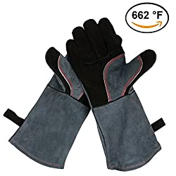 OZERO Leather Grill BBQ Gloves, 662°F(350℃) Extreme Heat Resistant Oven Stove Fireplace Cooking Baking Barbecue Gloves Mitts with 16 inches Long Sleeve - One-Size-Fit-Most for Men & Women, Gray-Black