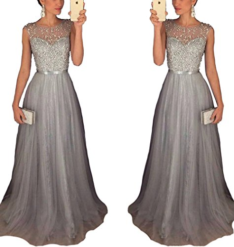 (Sleeveless Tulle A-Line Long Graduation Evening Prom Dress Beaded Sequins Homecoming Party Gowns US12)