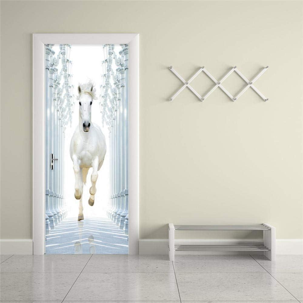 3D Etiqueta De La Puerta Caballo Blanco 77X200Cm Pegatinas De Puerta Murales De Pared Papel Mural De Puerta Autoadhesivo Etiqueta Decoración De Habitación