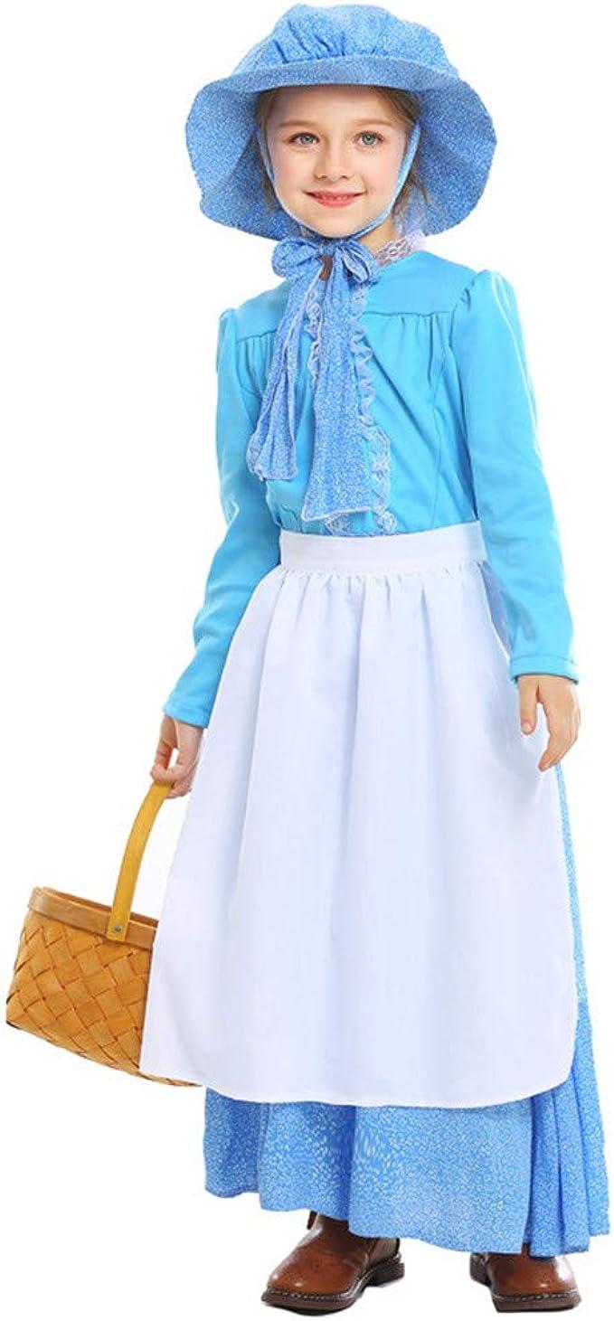 L S Pioneer Girl Costume Dress Childs Girls Prairie Pilgrim Thanksgiving M