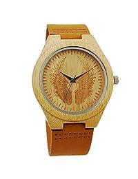 New Handmade Wooden Watches Vintage Casual Quartz Wrist Watch for Men Women (Angel Wings)