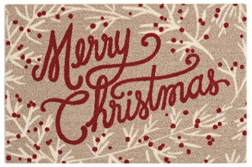 Merry Christmas Non-Skid Accent Rug - Tan & Red - 20 x 30 Inches ()