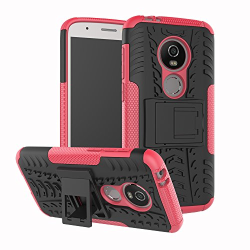 Moto E5 Cruise Case,Moto E5 Play Case,For Motorola Moto E5 Play/E5 Cruise/E Play (5th Gen) Case with Kickstand,Hybrid Rugged Shockproof Slim Dual Layer Armor PC Back TPU Bumper Phone Cover,Hot Pink