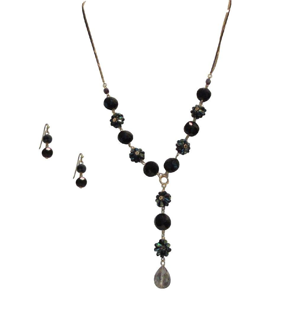 LaRaso & Co Jewelry Set for Women Long Crystal Necklace Dangle Earrings Black