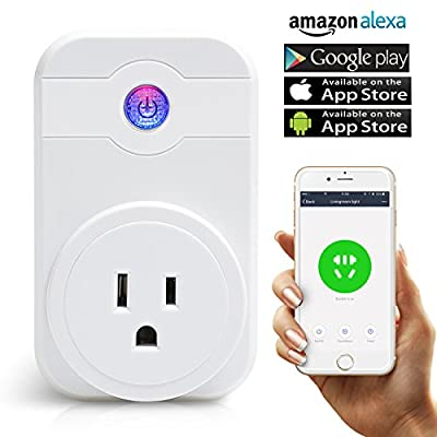 Wi-Fi Smart Plug,Wireless Smart Switch Socket,Wireless Remote Control Socket, Works with Amazon Alexa,Wireless Smart Home Remote Switch with Timing Function for Apple iPhone and Android Devices