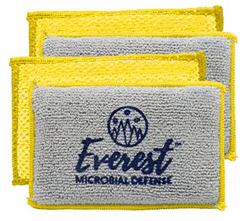 NoStench Kitchen Sponge by Everest Microbial Defense | Durable Antibacterial Microfiber Mesh and Terry Cloth, No Odor, Antimicrobial Protected | Germ-Free Lifestyle Product | 4 Pack +90 Day Guarantee by Everest Microbial Defense