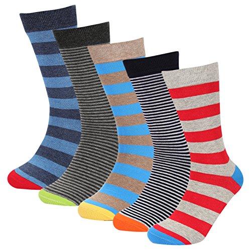 Mens Dress Assorted Stripes Casual Crew Socks 5 Pack Hoyols(L Size) Mens Multi Colored Dress
