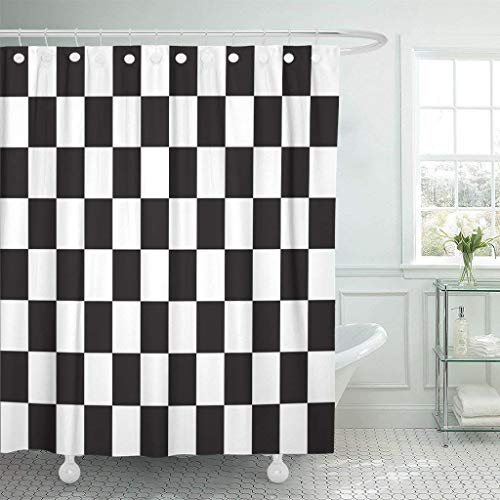 Zarona Shower Curtain Checkered Racing Flag Symbolic of End Car Race Black Waterproof Polyester Fabric