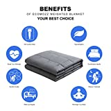 "ECOMOZZ Weighted Blanket(48""x72"", 15 lbs), 100% Cotton Cooling Gravity Heavy Blanket for Kids and Adults, Relief for Anxiety, ADHD, Stress, Autism or Insomnia& Deep Sleep, Grey"