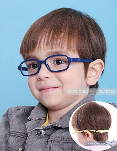EnzoDate Boys Girls Optical Glasses Frame Size 45 with Strap, Flexible One-piece No Screw for Kids - Kids Optical Glasses