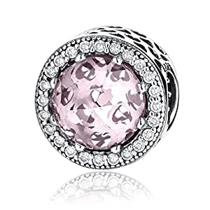 Fashion 925 Sterling Silver Round Charms Pink Birthstone Crystal Bead Charms Fit Bracelets for Women Girls