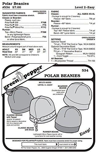 Fleece Polar Beanies Winter Hats Headwear #534 Sewing Pattern (Pattern Only)