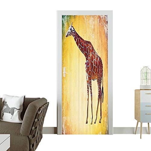 Homesonne Modern Art Door Sticker Vintage Style Giraffe Watercolor African Animal Wildlife Safari Zoo Retro Environmentally Friendly decorationW23 x H70 INCH from Homesonne