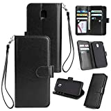 Shinyzone Samsung Galaxy J3 2018 Wallet Case with 9 Card Slots,Luxury Premium Synthetic Leather Book Style Stand Cover with Wrist Strap and Magnetic Closure Pretective Cover-Black