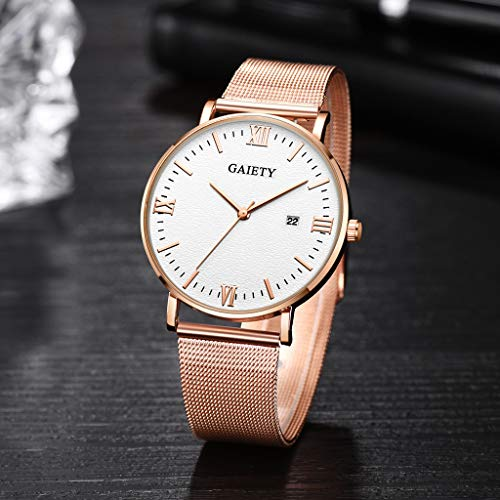 Mens Quartz Wrist Watch, Roman Numeral Business Casual Fashion Leather Watches with Classic Calendar Date Window (A)