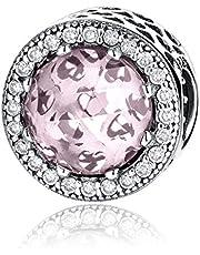 (Blush Pink) - Radiant Hearts 925 Sterling Silver Charms Pandora European Bracelets Compatible