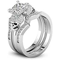 Women Fashion 925 Silver Princess Cut White Sapphire Skull Ring Wedding Ring Set#by pimchanok shop (6)