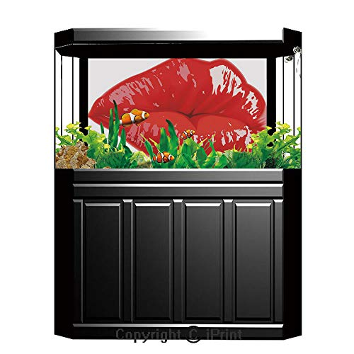 Aquarium Decoration Background,Kiss,Puckering Full Lips in Vivid Color Cosmetics Make Up Female Beauty Love and Affection Decorative,Red White,Photography Backdrop for Photo Props Room,W48.03