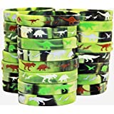 Gypsy Jade's Dinosaur World Jurassic Style Silicone Wristbands - Set of 24 Camouflage Dino Bands (24 Camo Bands)