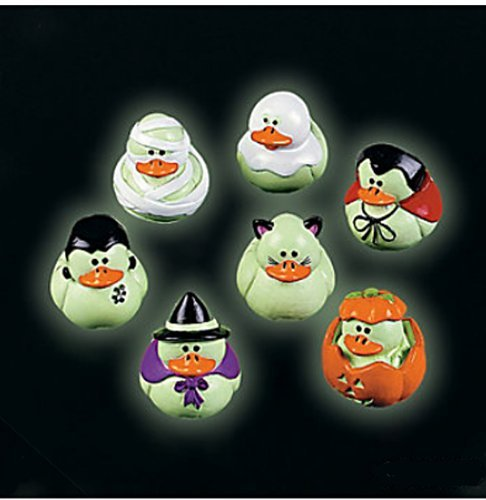 Two Dozen (24) Mini Glow-in-the-dark Halloween Rubber Ducks Duckie Ducky by Fun -