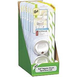 Ball Regular Mouth Mason Sip and Straw Lids set of 4, (6 Pack)