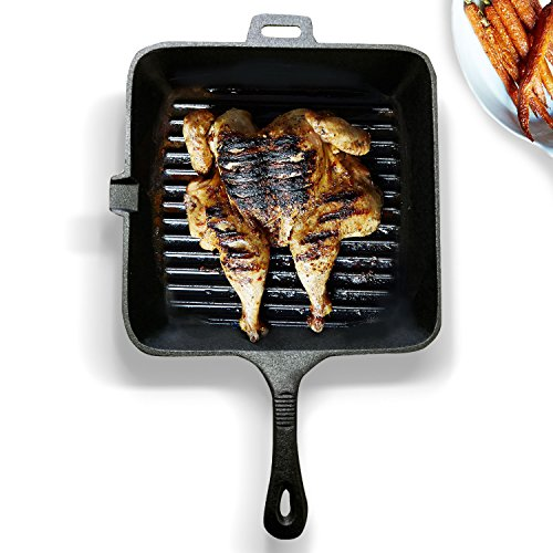 Homiu Cast Iron Square Grill Pan – Versatile And Non-Stick – Gas, Electric And Induction Hob Safe - Oven Safe To 220°C – Approximately 25 X 25cm