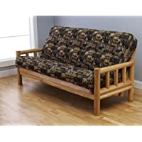Cabin Lodge Log Futon Frame w/ up North Premium 8 Innerspring Mattress Sofa Bed Set (Sofa Frame & Mattress)