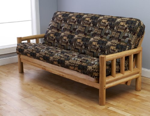 Jerry Sales Up North Futon Lodge Natural Coated Finish Frame w Mattress Full Size Sofa Bed Peters Cabin Mattress Fabric