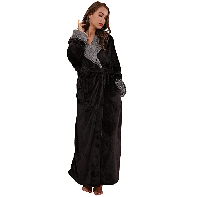 f3d07a2a0b SUNBABY Thicker Long Flannel Sleepwear for Women and Man Imitation Fur  Collar Bathrobes Warm Couple Pajamas