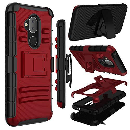 zenic Alcatel 7 Case, Alcatel Revvl 2 Plus Case, Alcatel 7 Folio Case, Heavy Duty Shockproof Full-Body Protective Hybrid Case Cover with Swivel Belt Clip and Kickstand for Alcatel 7 (Red)