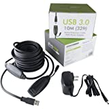 Plugable 10 Meter (32 Foot) USB 3.0 Active Extension Cable with AC Power Adapter Included